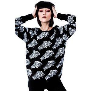 RARE Killstar Obsession Pizza Knit Black Sweater